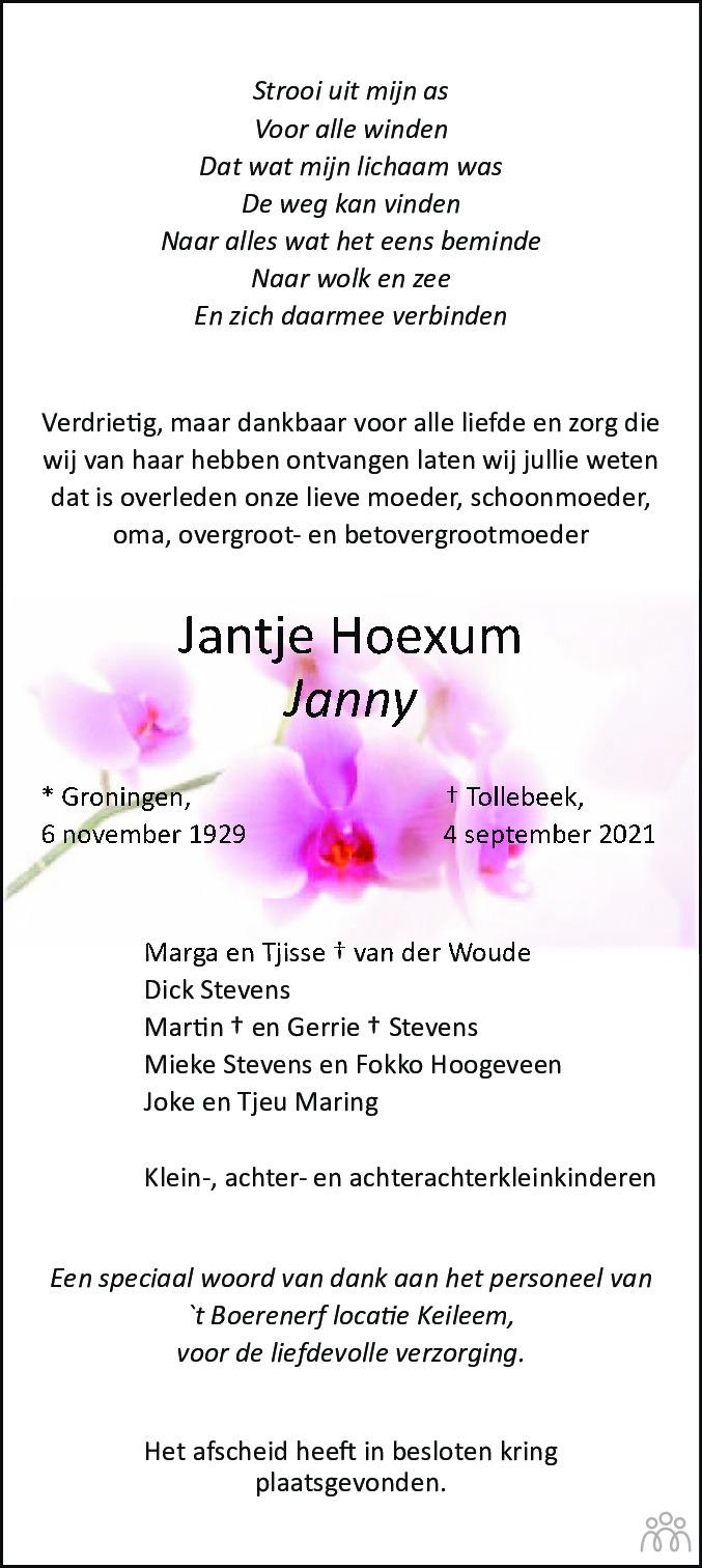 Overlijdensbericht van Jantje (Janny) Hoexum in Noordoostpolder