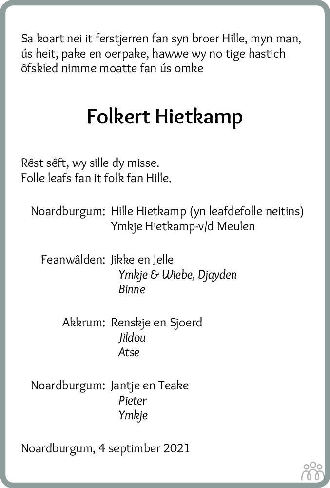 Overlijdensbericht van Folkert Hietkamp in Leeuwarder Courant