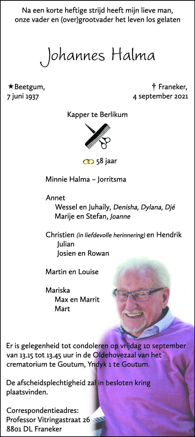 Overlijdensbericht van Johannes Halma in Leeuwarder Courant