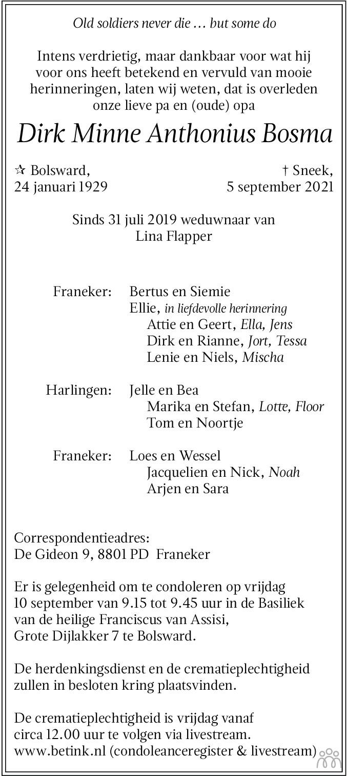 Overlijdensbericht van Dirk Minne Anthonius Bosma in Leeuwarder Courant