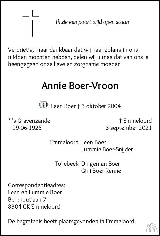 Overlijdensbericht van Annie Boer-Vroon in Noordoostpolder
