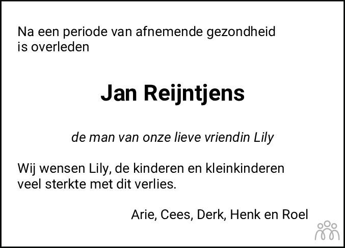 Overlijdensbericht van Jan Reijntjens in Noordoostpolder