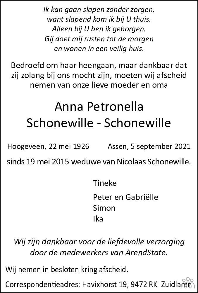 Overlijdensbericht van Anna Petronella Schonewille-Schonewille in Dagblad van het Noorden