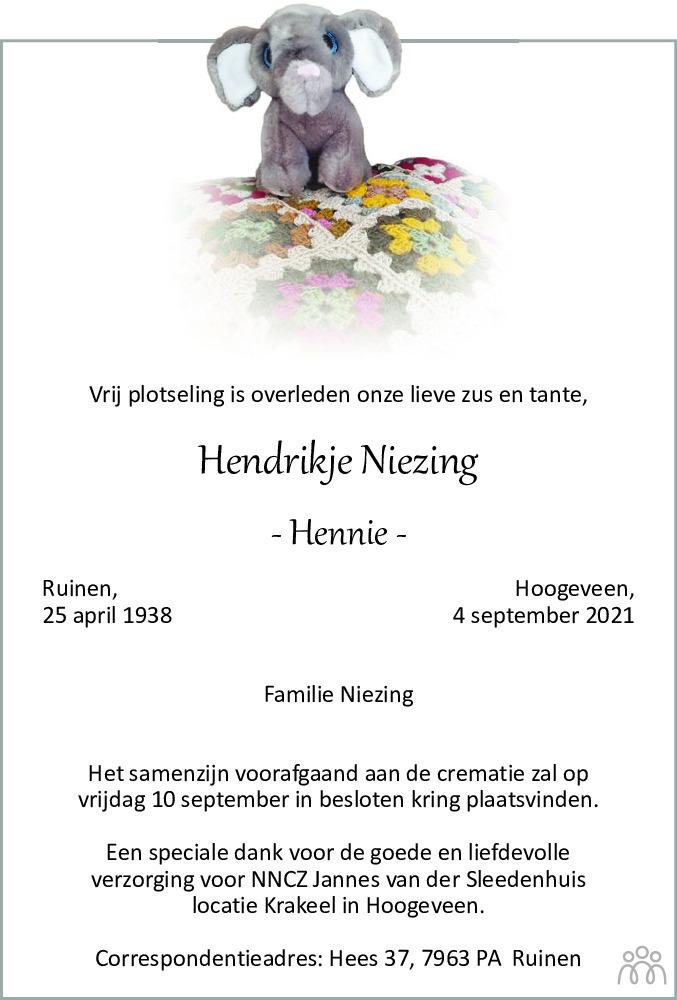 Overlijdensbericht van Hendrikje (Hennie) Niezing in Meppeler Courant