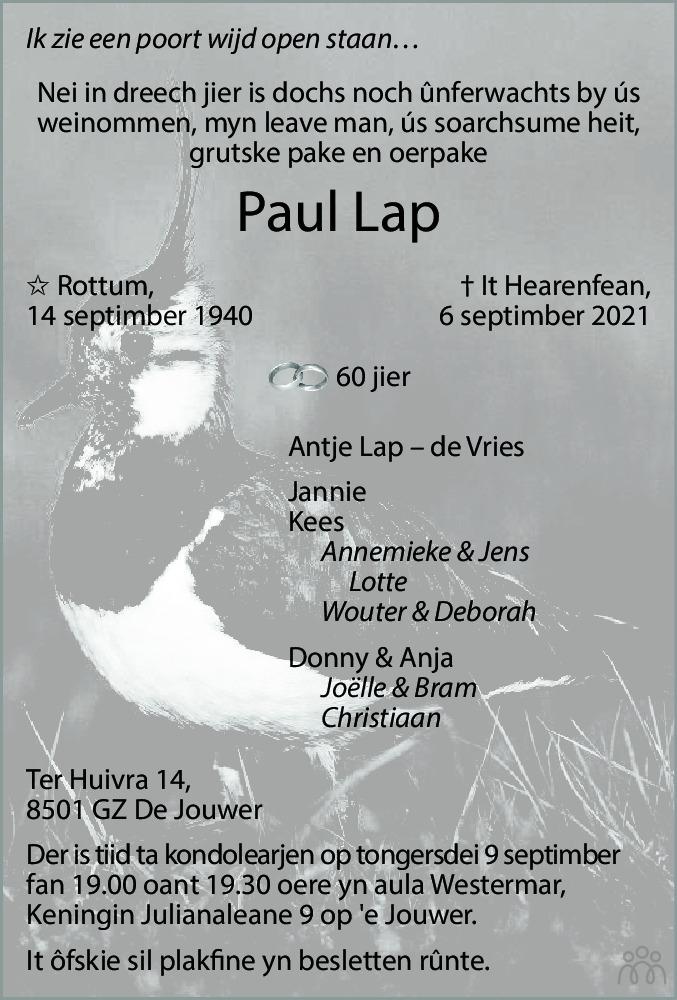 Overlijdensbericht van Paul Lap in Leeuwarder Courant