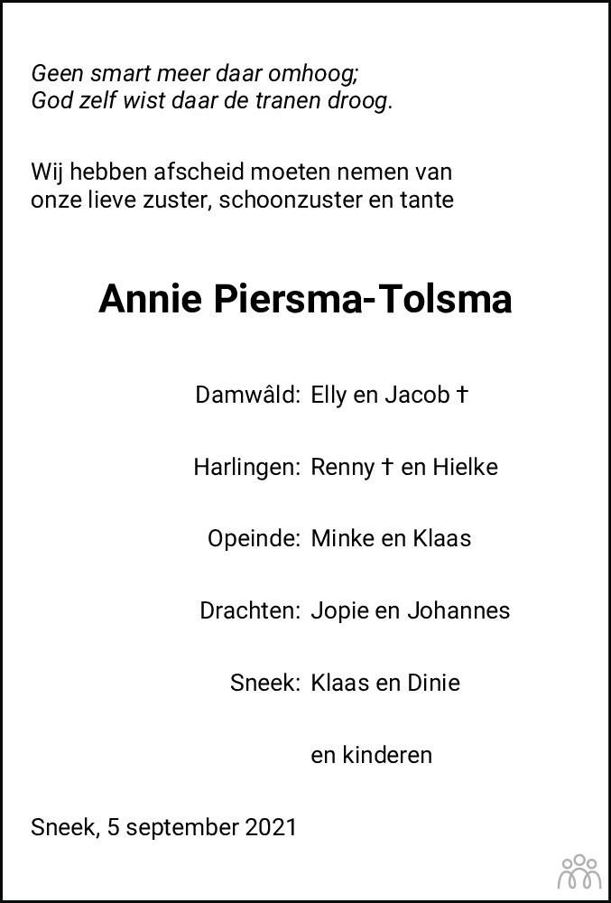Overlijdensbericht van Antje (Anneke) Piersma-Tolsma in Leeuwarder Courant