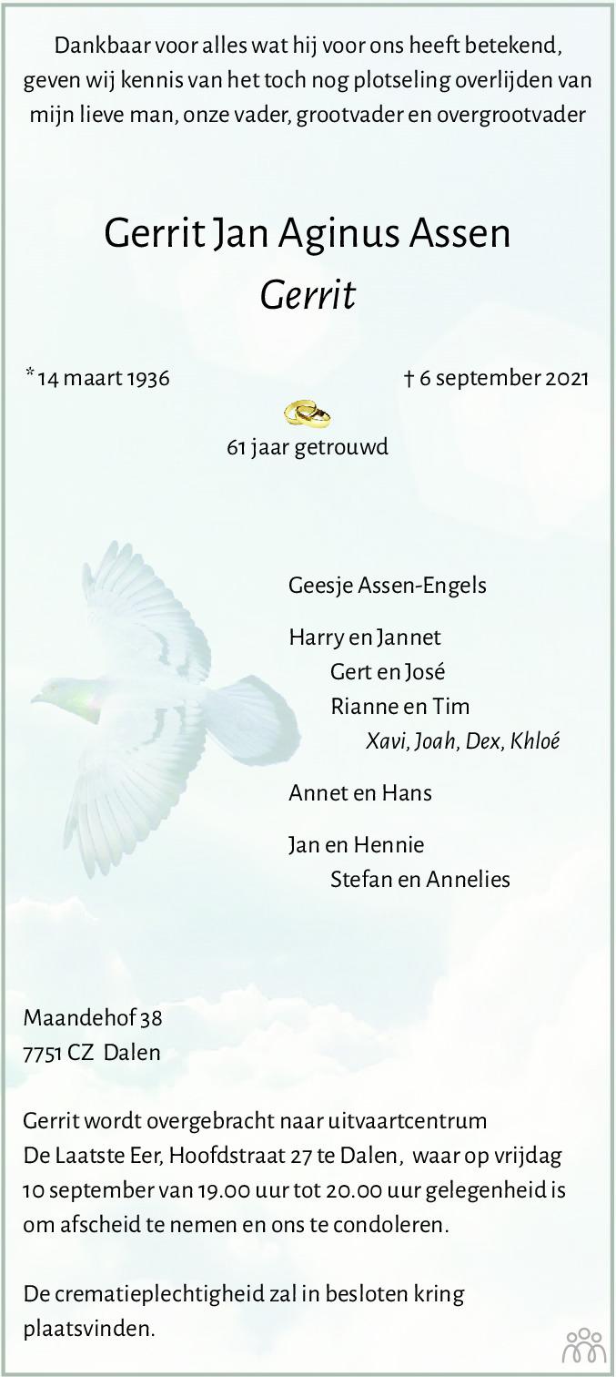 Overlijdensbericht van Gerrit Jan Aginus (Gerrit) Assen in Dagblad van het Noorden
