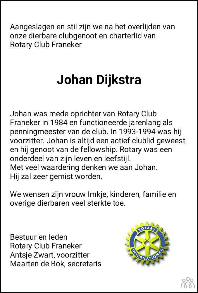 Overlijdensbericht van Johan Dijkstra in Leeuwarder Courant