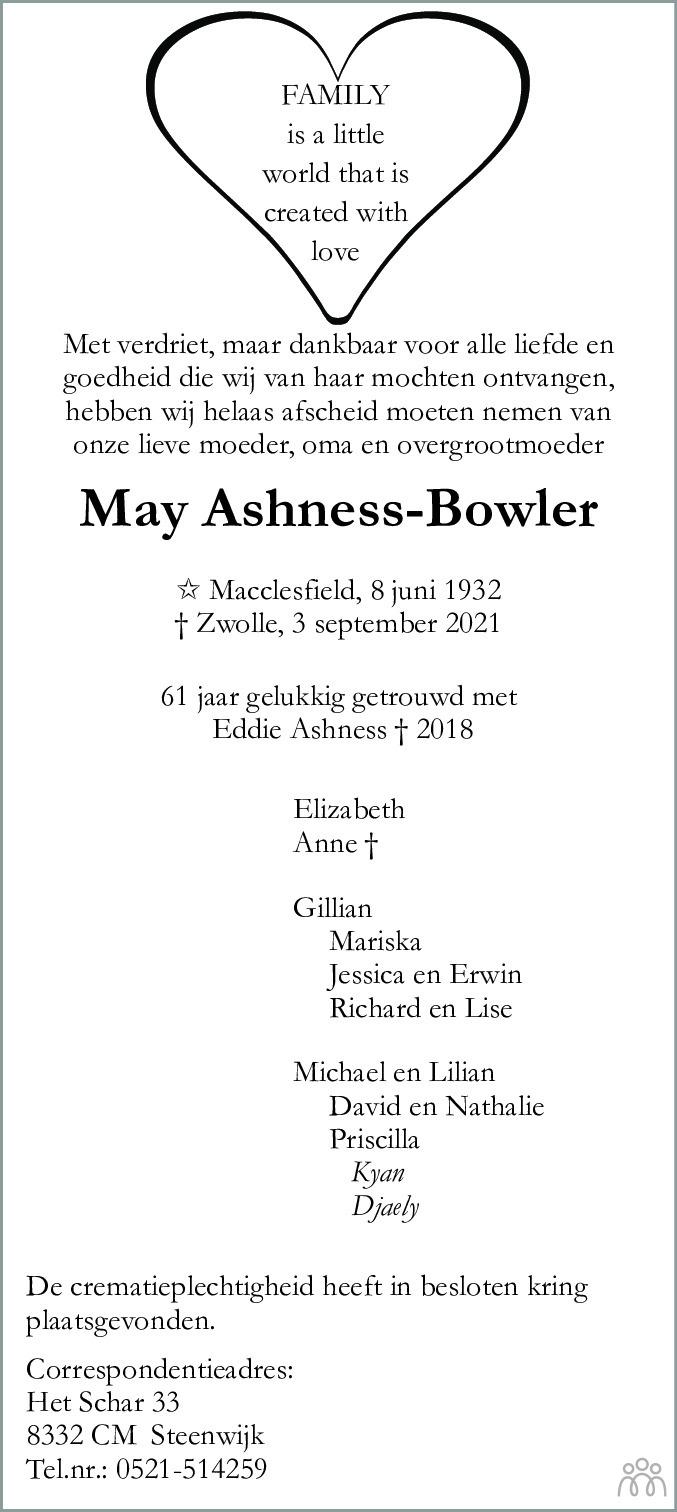 Overlijdensbericht van May Ashness-Bowler in Meppeler Courant