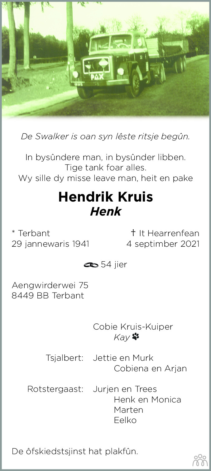 Overlijdensbericht van Hendrik (Henk) Kruis in Heerenveense Courant