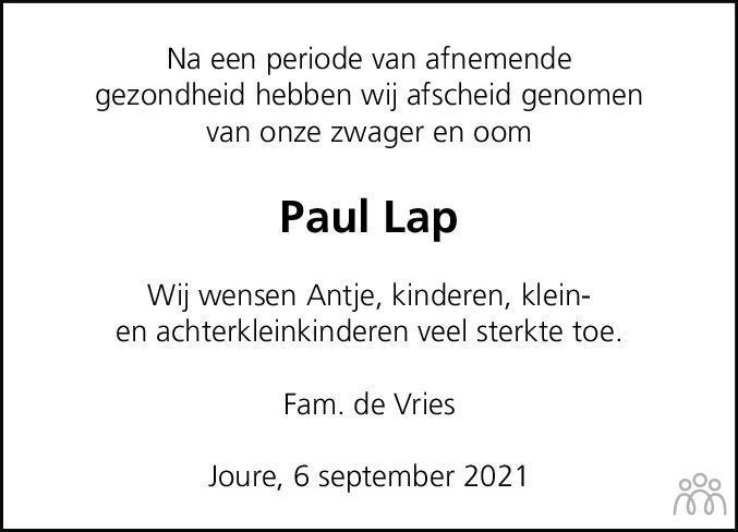 Overlijdensbericht van Paul Lap in Jouster Courant Zuid Friesland