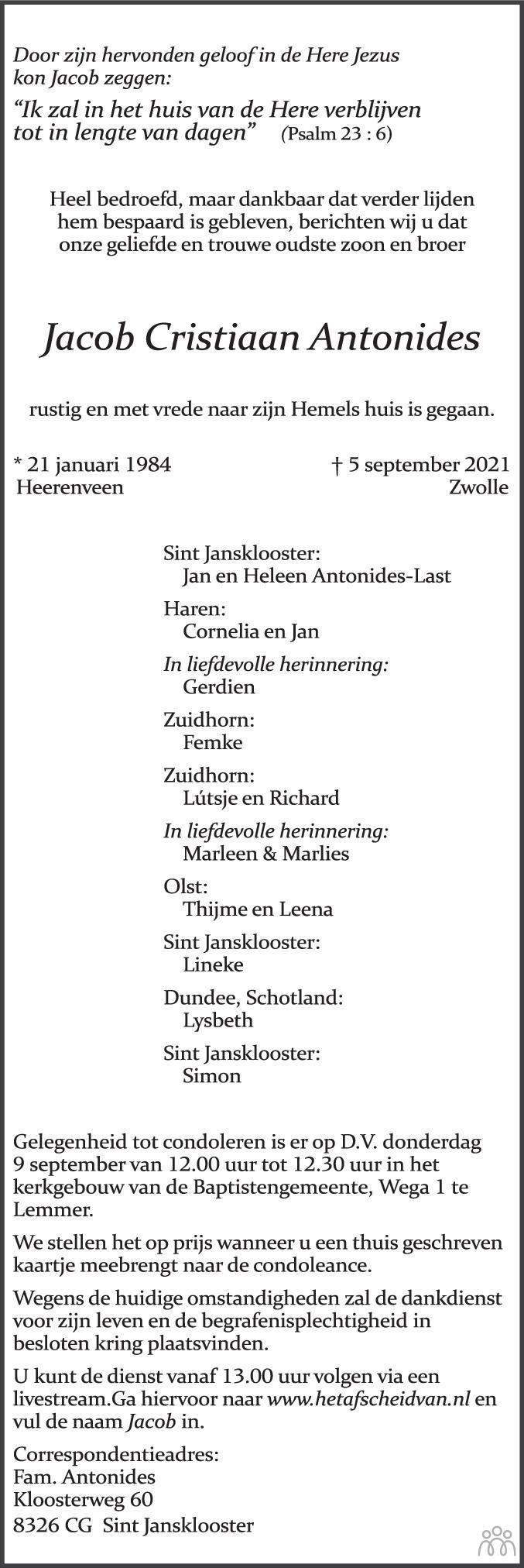 Overlijdensbericht van Jacob Cristiaan Antonides in Leeuwarder Courant