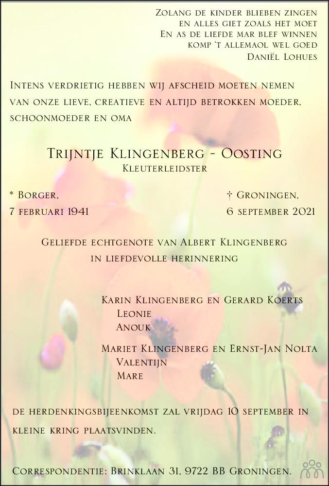 Overlijdensbericht van Trijntje Klingenberg-Oosting in Dagblad van het Noorden