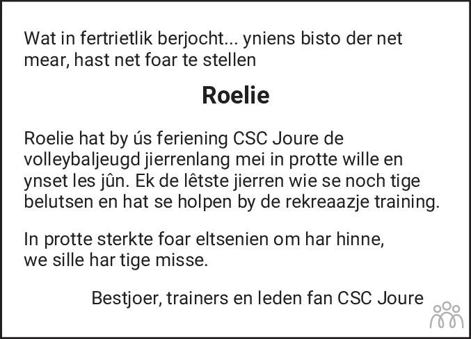 Overlijdensbericht van Roelie de Graaf-Dijkstra in Jouster Courant Zuid Friesland