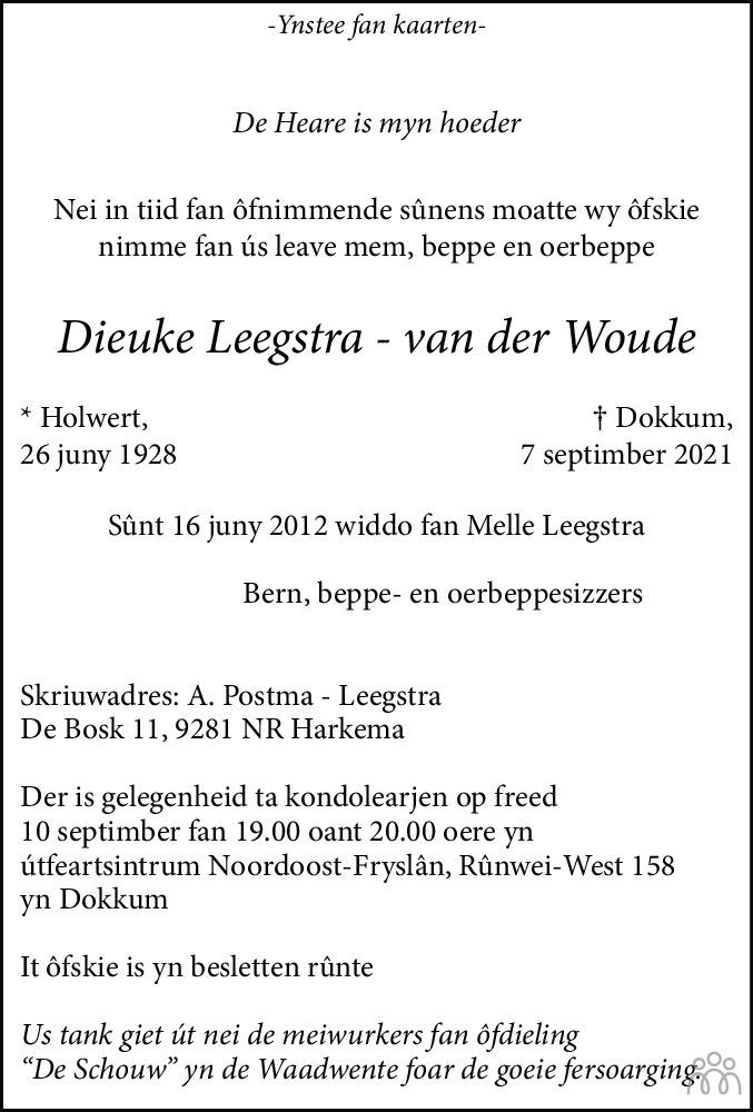 Overlijdensbericht van Dieuke Leegstra-van der Woude in Leeuwarder Courant