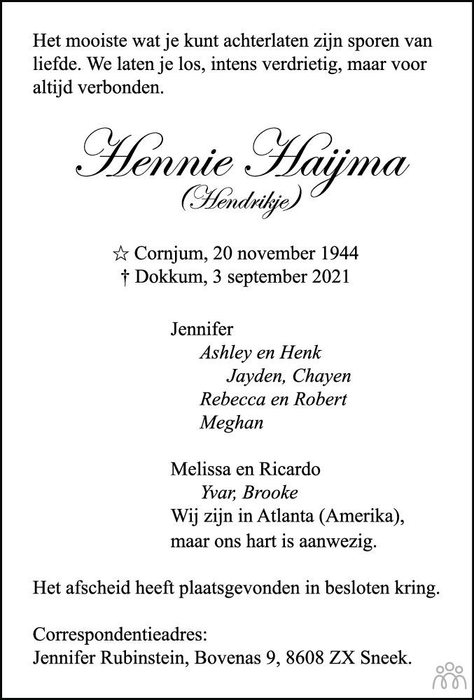 Overlijdensbericht van Hennie (Hendrikje) Haijma in Leeuwarder Courant