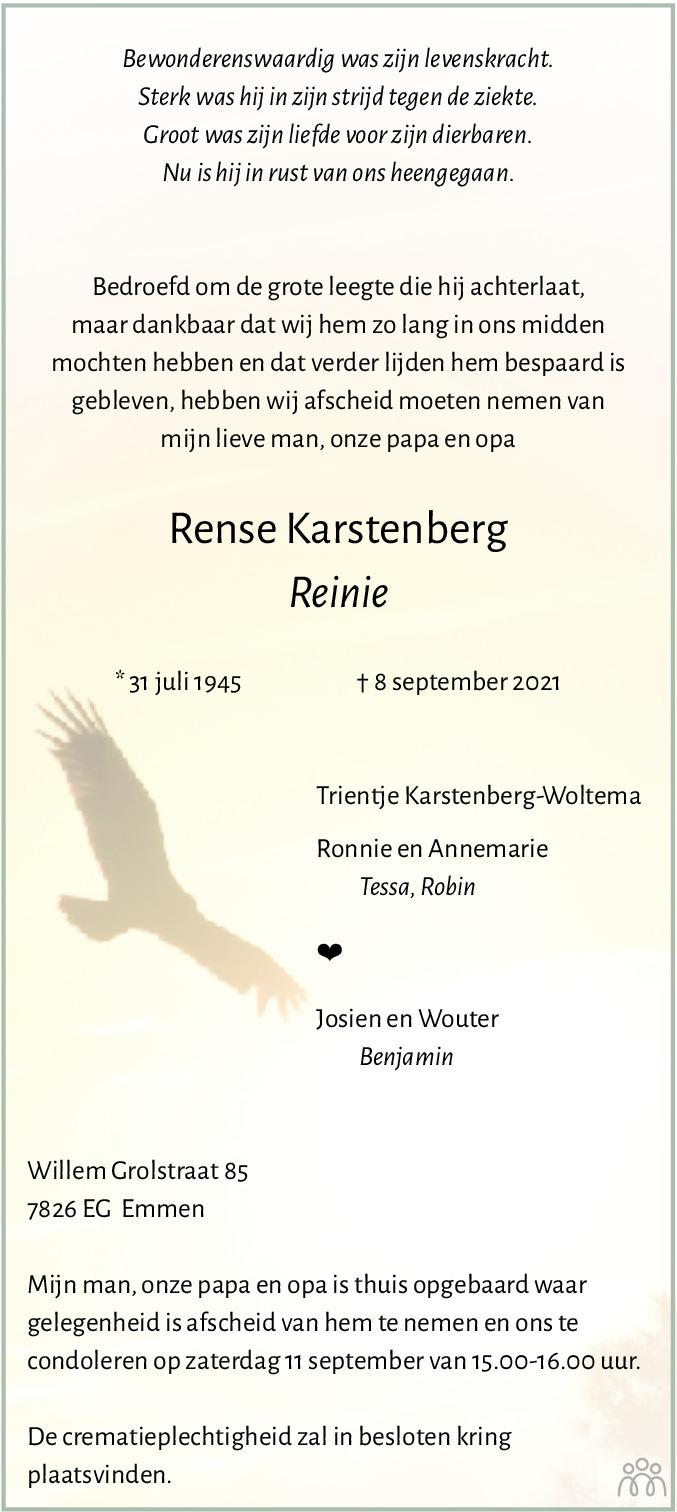 Overlijdensbericht van Rense (Reinie) Karstenberg in Dagblad van het Noorden