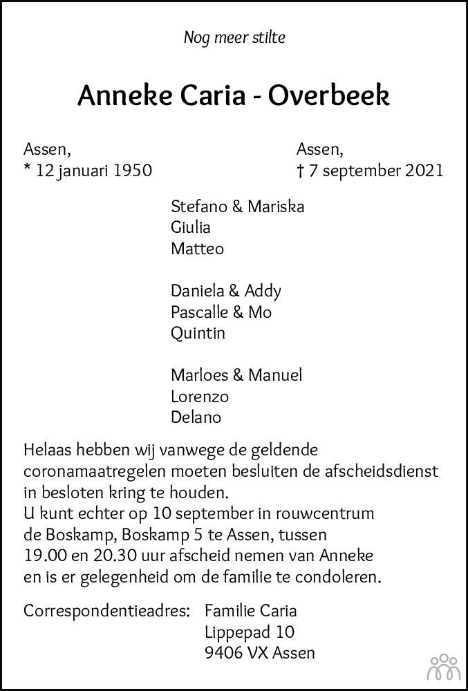 Overlijdensbericht van Anneke Caria-Overbeek in Dagblad van het Noorden