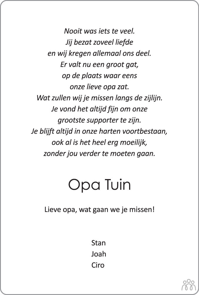 Overlijdensbericht van Klaas Tuin in Meppeler Courant