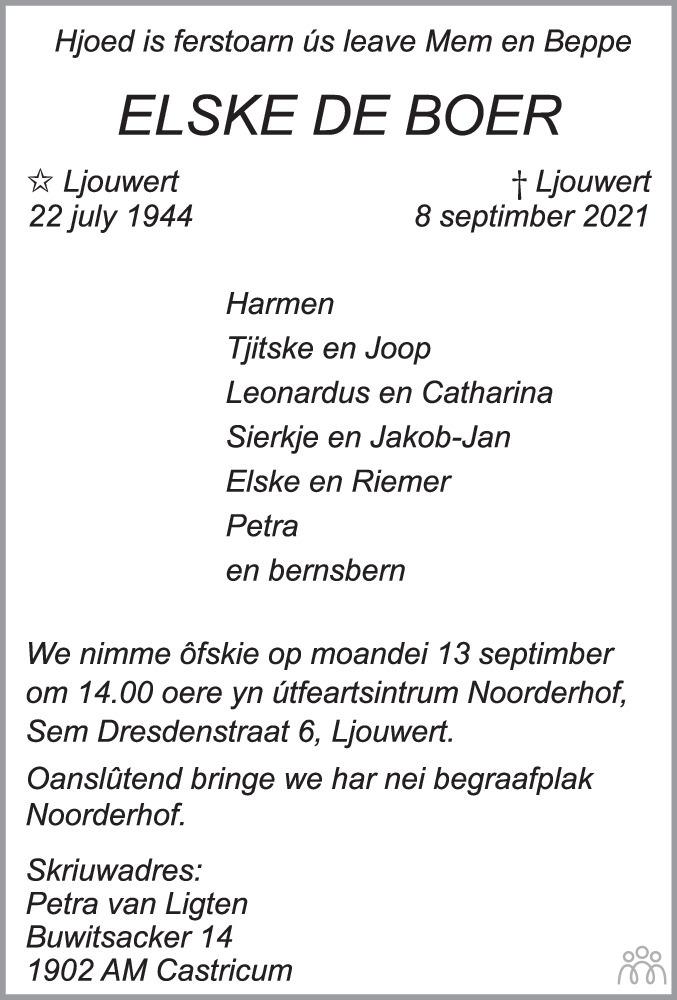 Overlijdensbericht van Elske de Boer in Leeuwarder Courant