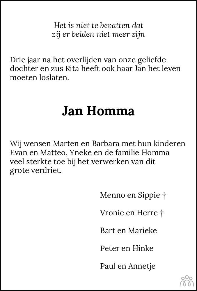 Overlijdensbericht van Jan Adriaan Franciscus Homma in Leeuwarder Courant
