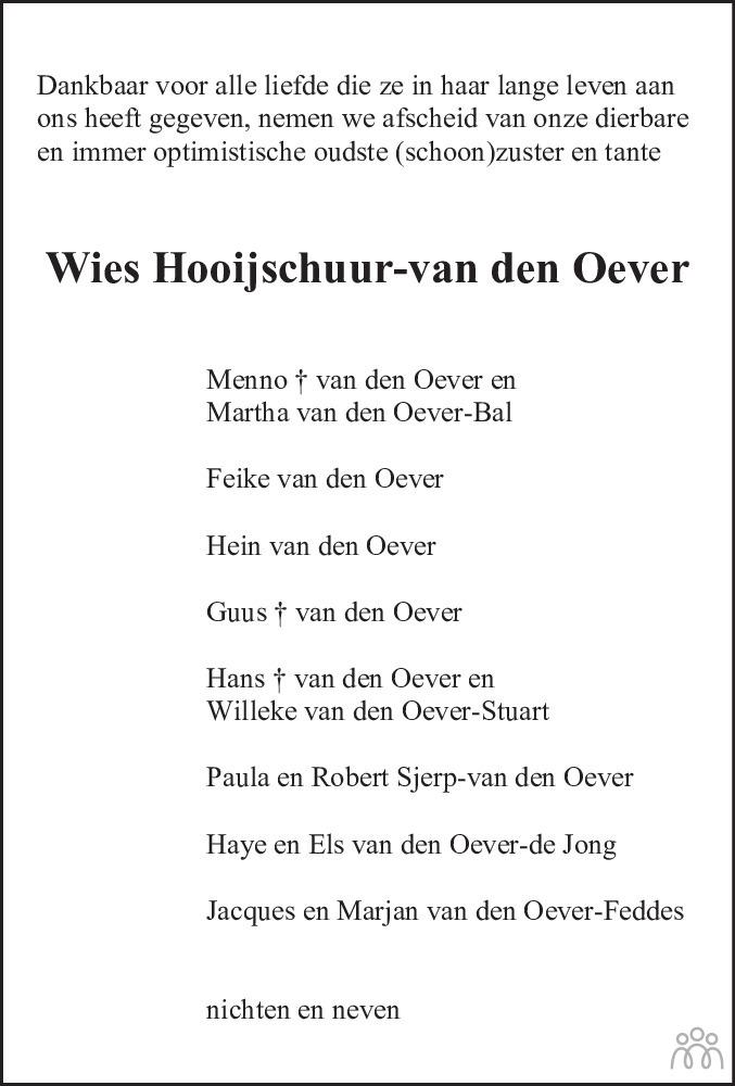 Overlijdensbericht van Wies (Louise Agatha Maria) Hooijschuur-van den Oever in Leeuwarder Courant