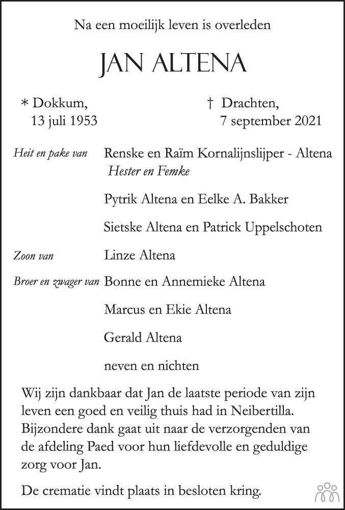 Overlijdensbericht van Jan Altena in Leeuwarder Courant