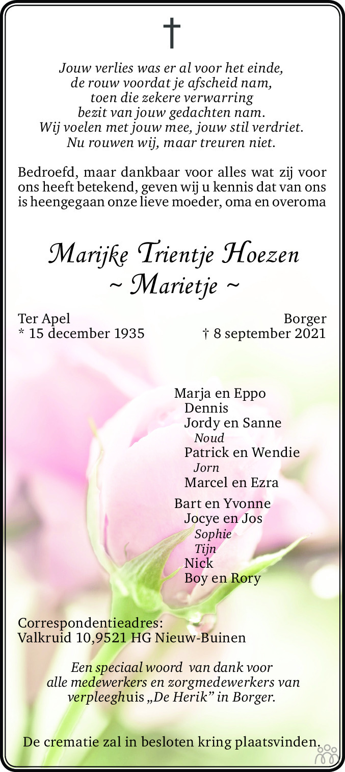 Overlijdensbericht van Marijke Trientje (Marietje) Hoezen in Dagblad van het Noorden