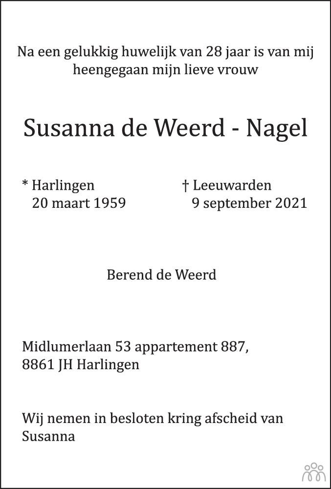 Overlijdensbericht van Susanna de Weerd-Nagel in Leeuwarder Courant