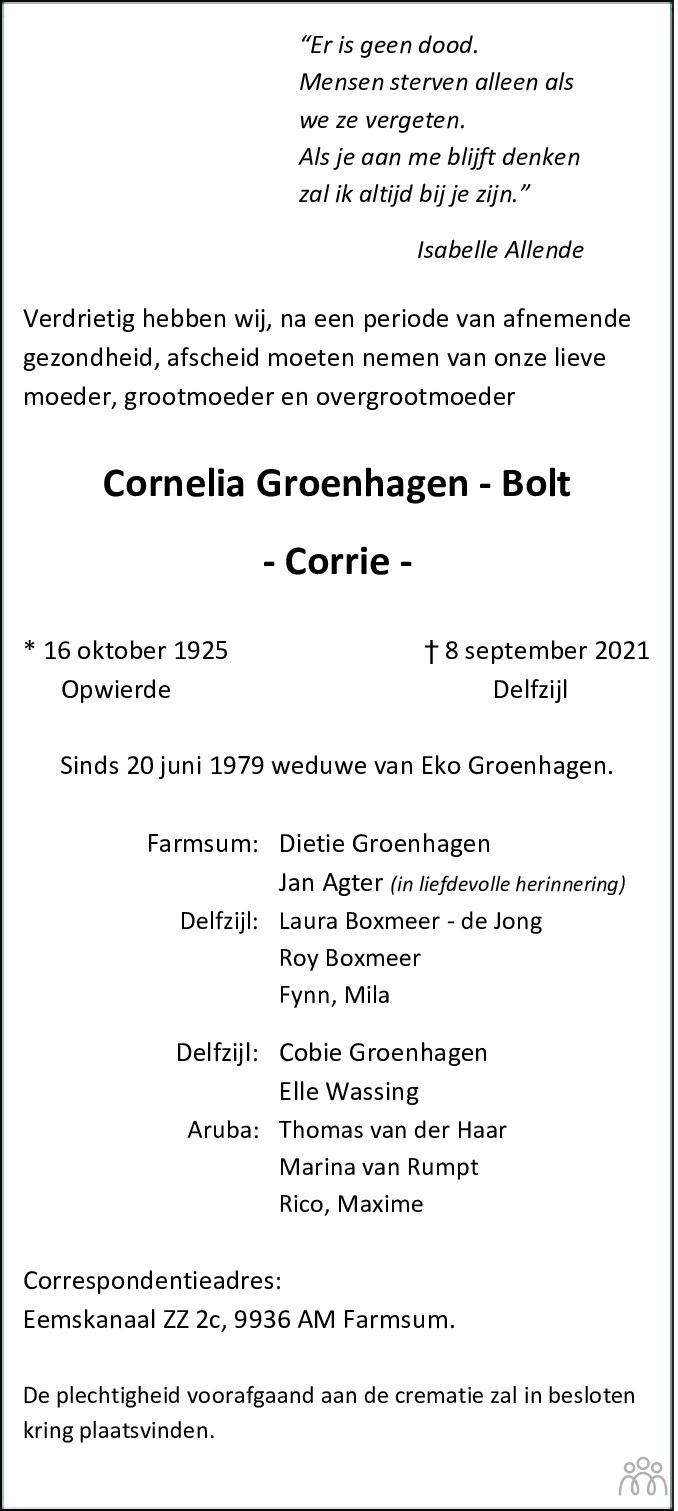 Overlijdensbericht van Cornelia (Corrie) Groenhagen-Bolt in Dagblad van het Noorden