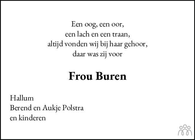 Overlijdensbericht van Willemke Buren-Visser in Leeuwarder Courant