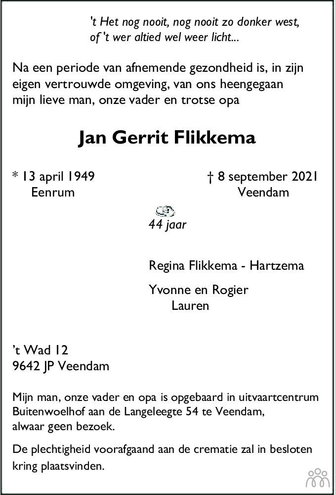 Overlijdensbericht van Jan Gerrit Flikkema in Dagblad van het Noorden