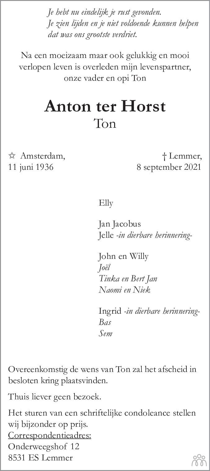 Overlijdensbericht van Anton (Ton) ter Horst in Leeuwarder Courant