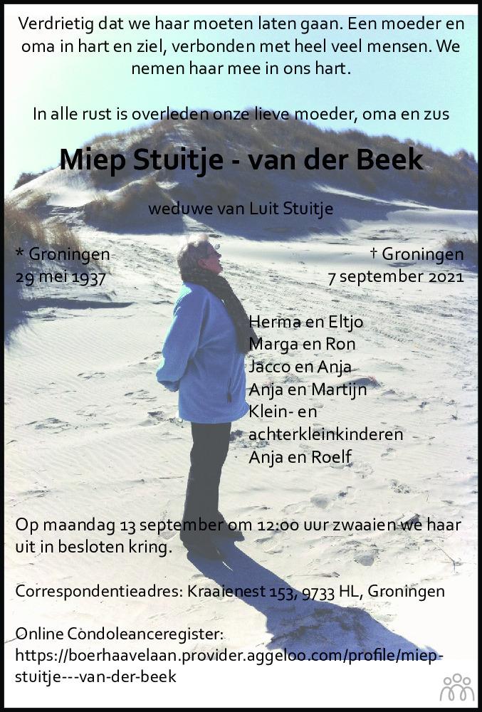 Overlijdensbericht van Mien Stuitje-van der Beek in Dagblad van het Noorden