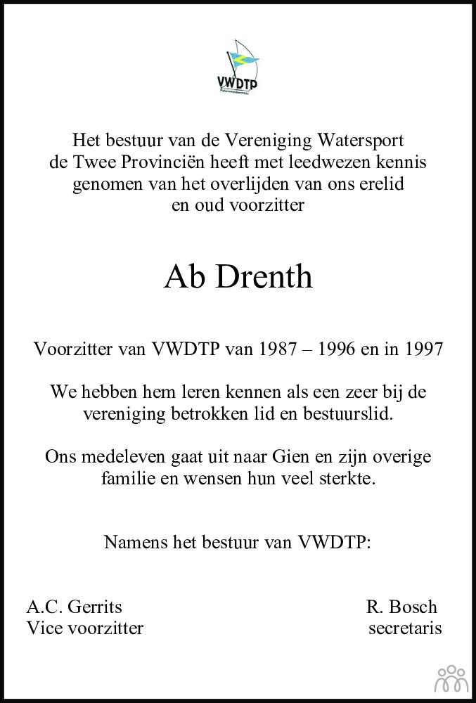 Overlijdensbericht van Albert Drenth in Dagblad van het Noorden