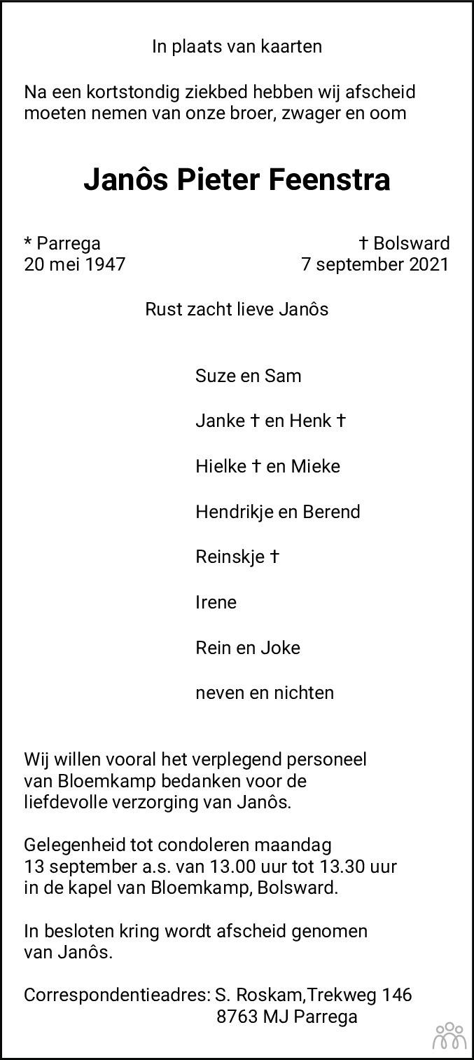 Overlijdensbericht van Janôs Pieter Feenstra in Leeuwarder Courant