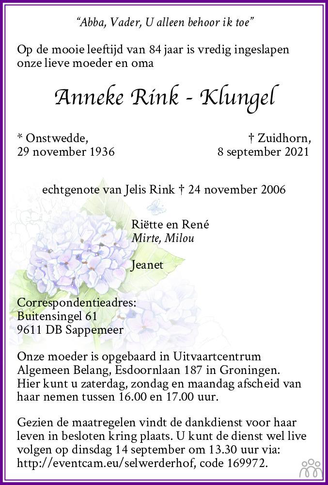 Overlijdensbericht van Anneke Rink-Klungel in Dagblad van het Noorden