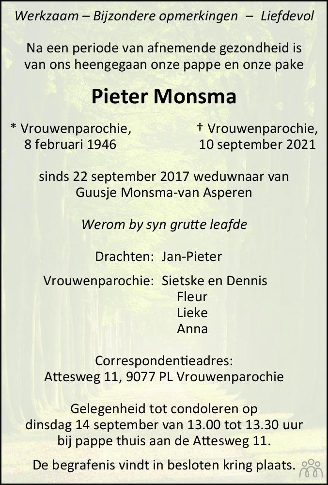 Overlijdensbericht van Pieter Monsma in Leeuwarder Courant