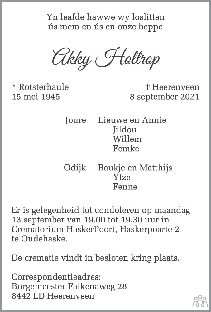 Overlijdensbericht van Akky Holtrop in Leeuwarder Courant
