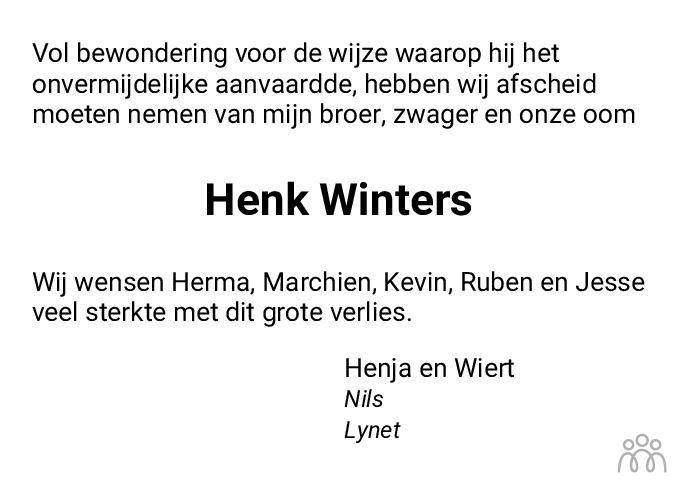 Overlijdensbericht van Henk Winters in Dagblad van het Noorden