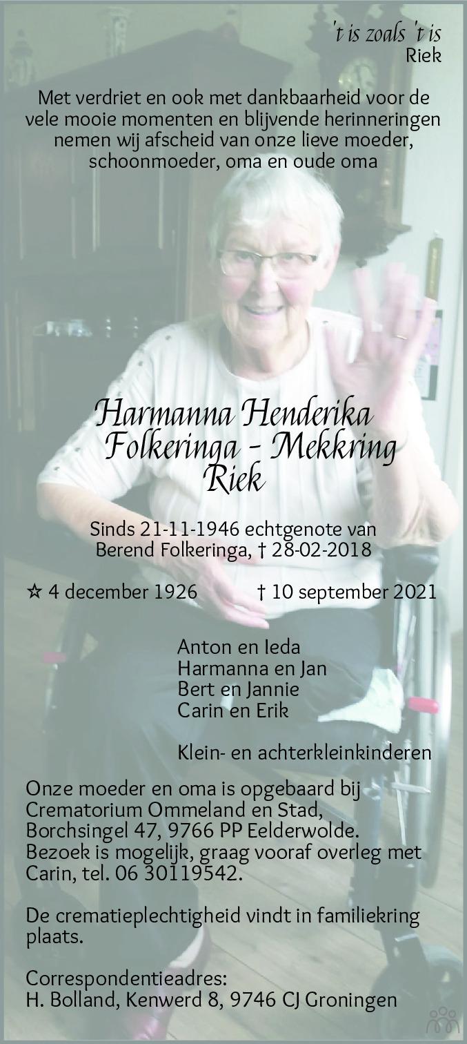 Overlijdensbericht van Harmanna Hendrika (Riek) Folkeringa-Mekkring in Dagblad van het Noorden