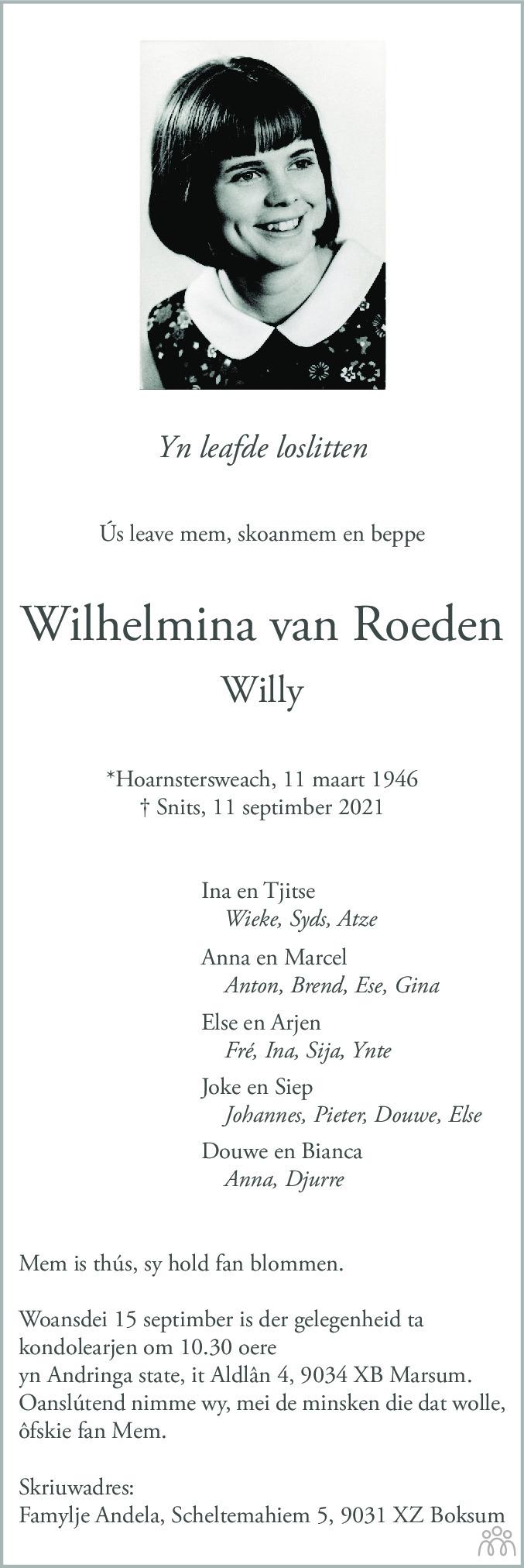 Overlijdensbericht van Wilhelmina (Willy) van Roeden in Leeuwarder Courant