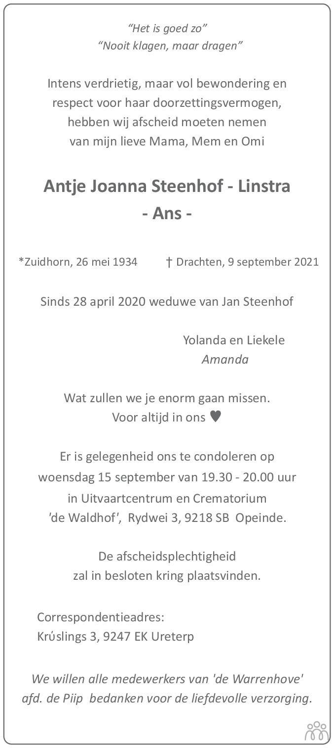 Overlijdensbericht van Ans Steenhof-Linstra in Leeuwarder Courant
