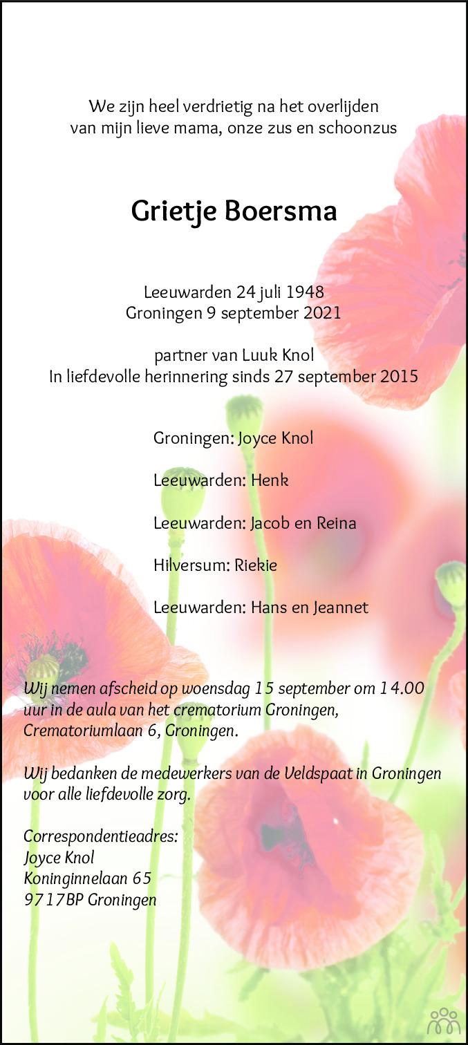 Overlijdensbericht van Grietje Boersma in Leeuwarder Courant