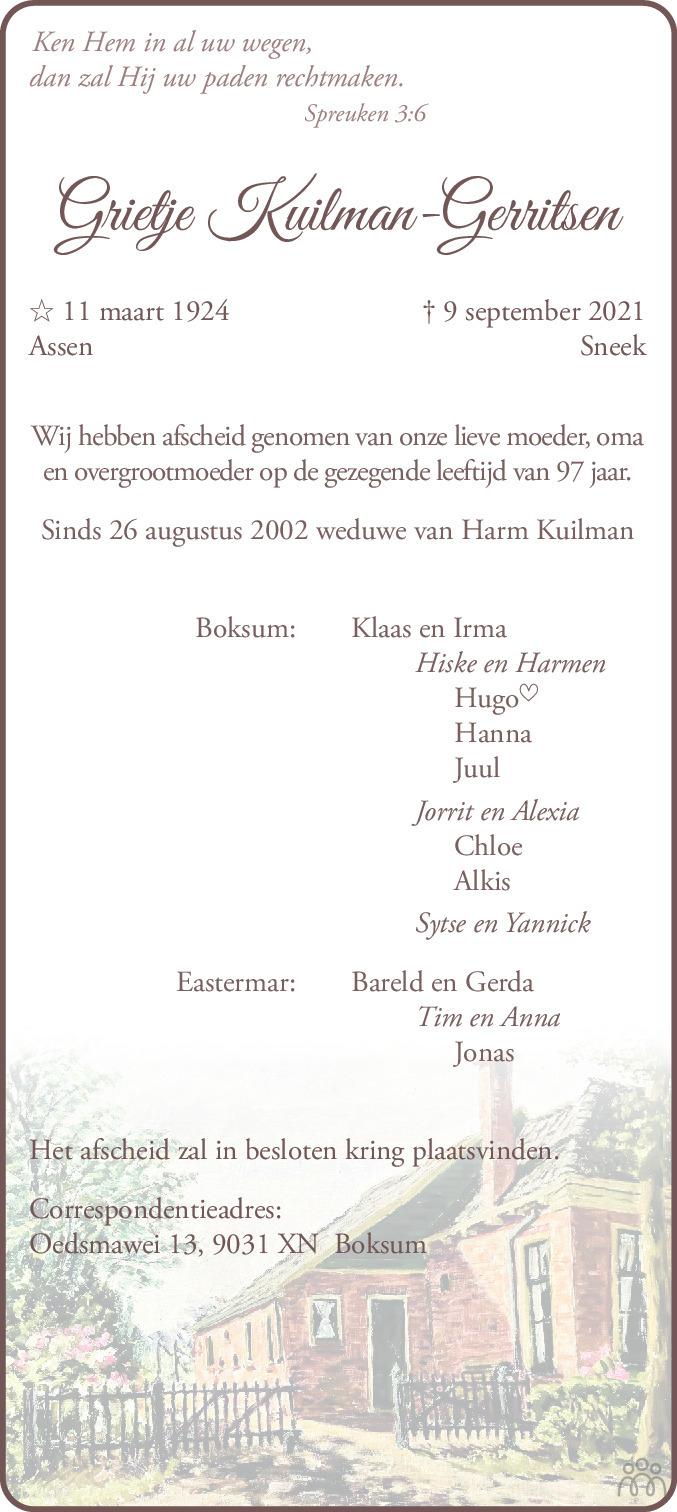 Overlijdensbericht van Grietje Kuilman-Gerritsen in Leeuwarder Courant