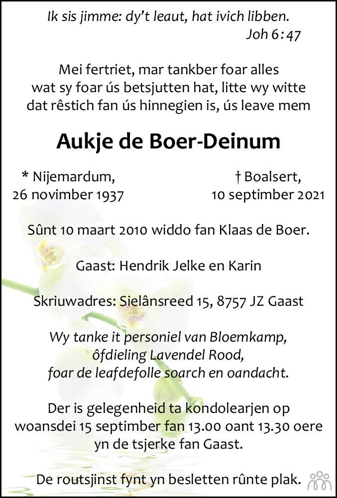 Overlijdensbericht van Aukje de Boer-Deinum in Leeuwarder Courant