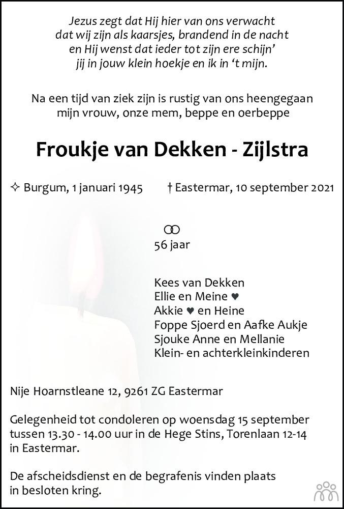Overlijdensbericht van Froukje van Dekken-Zijlstra in Leeuwarder Courant