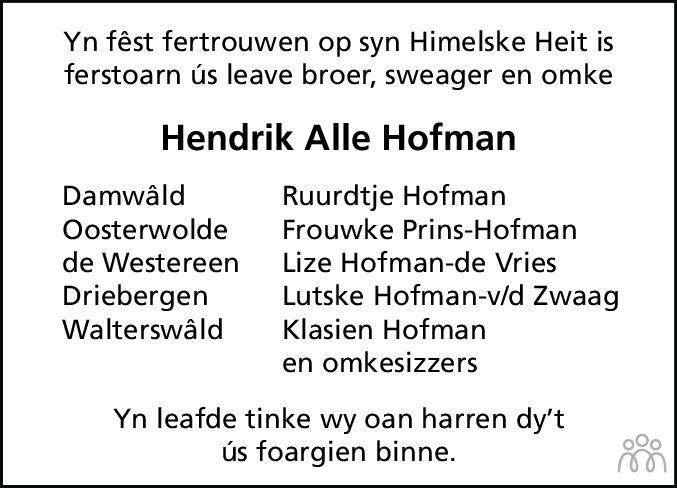 Overlijdensbericht van Hendrik Alle Hofman in Friesch Dagblad