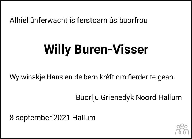 Overlijdensbericht van Willemke Buren-Visser in Friesch Dagblad