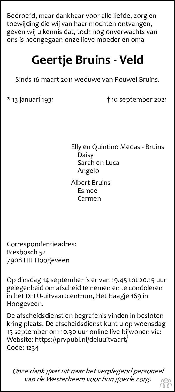 Overlijdensbericht van Geertje Bruins-Veld in Hoogeveensche Courant